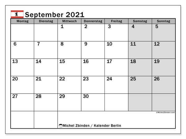 Kalender September 2021, mit den Feiertagen in Berlin. Kalender mit Feiertagen zum kostenlosen ausdrucken.