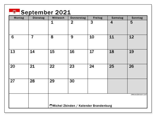 Kalender September 2021, mit den Feiertagen in Brandenburg. Kalender mit Feiertagen zum kostenlosen ausdrucken.