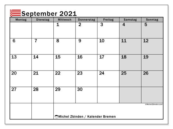Kalender September 2021, mit den Feiertagen in Bremen. Kalender Feiertage frei zum ausdrucken.