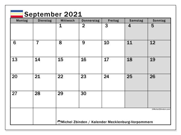 Kalender September 2021, mit den Feiertagen in Mecklenburg-Vorpommern. Kalender mit Feiertagen zum kostenlosen ausdrucken.