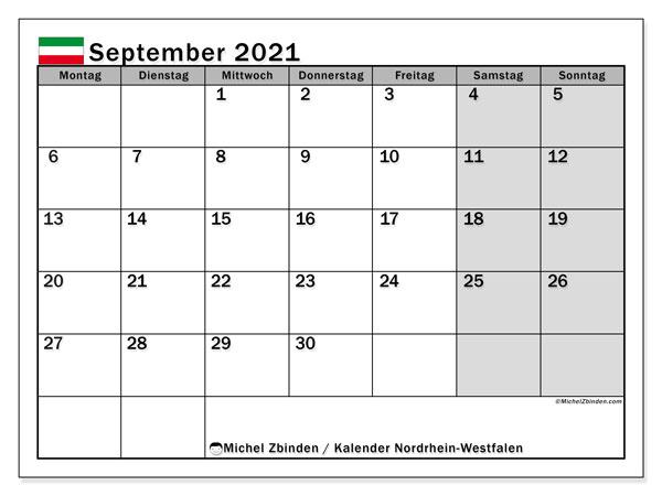Kalender September 2021, mit den Feiertagen in Nordrhein-Westfalen. Kalender Feiertage frei zum ausdrucken.