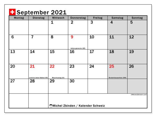 Kalender September 2021, mit den Feiertagen der  Schweiz. Kalender mit Feiertagen zum kostenlosen ausdrucken.