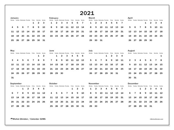Printable calendars, Annuals 2021, Monday - Sunday