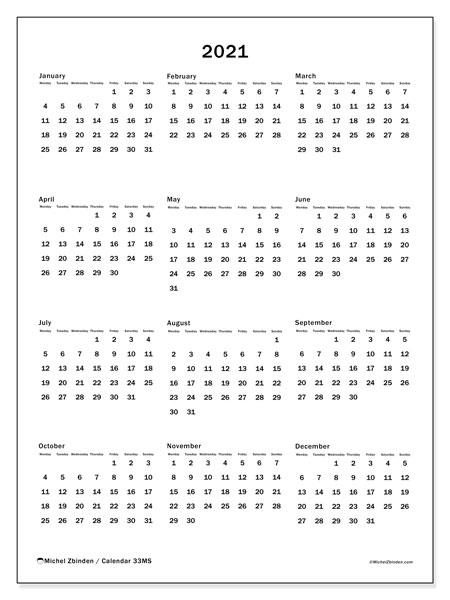 2021 Calendar, 33MS. Free calendar to print.