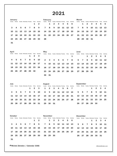 2021 Calendar, 33SS. Free printable yearly calendar.