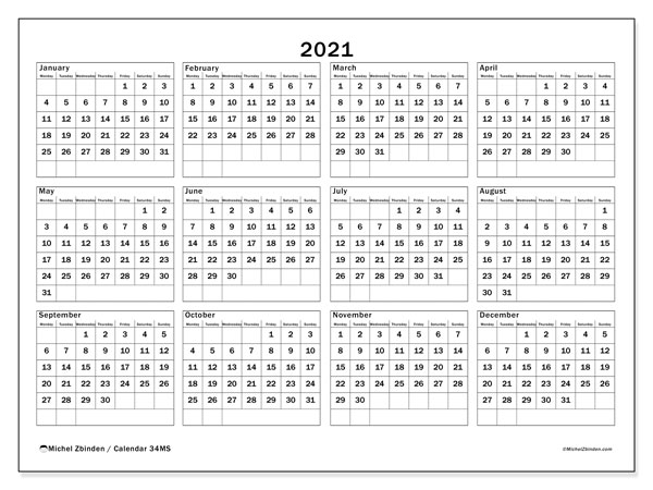 2021 Calendar, 34MS. Free printable yearly calendar.