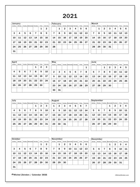 Annual Calendar 2021 - 36SS. Framed. Annual Calendar and free schedule to print.