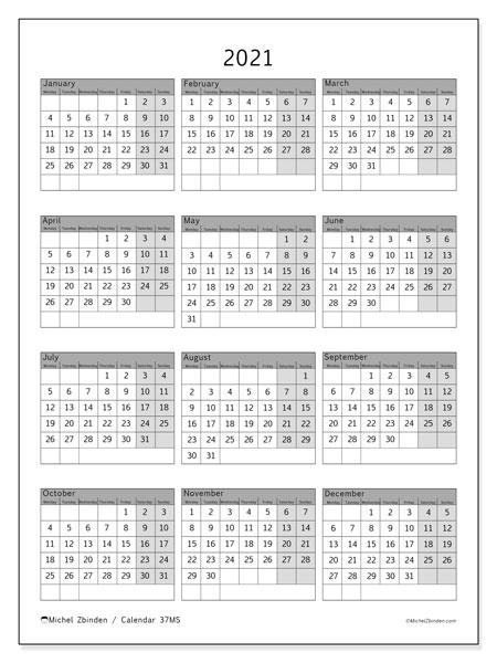 2021 Calendar, 37MS. Free calendar to print.