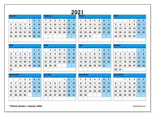 2021 Calendar, 39MS. Calendar to print free.