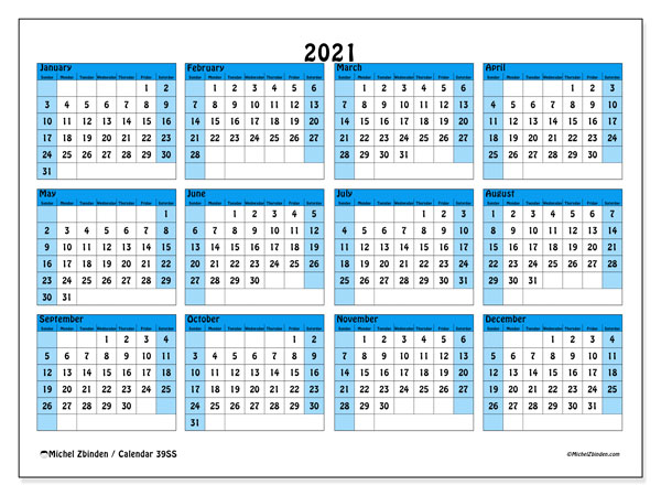 Printable 2021 calendars, Sunday - Saturday