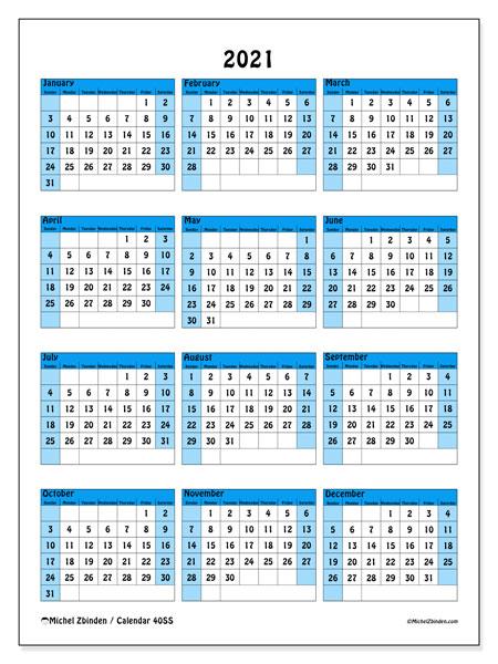 2021 Calendar, 40SS. Calendar to print free.