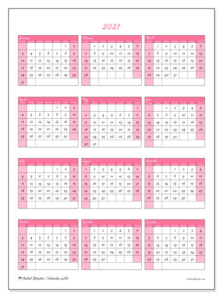 2021 Calendar, 42SS. Free printable calendar.