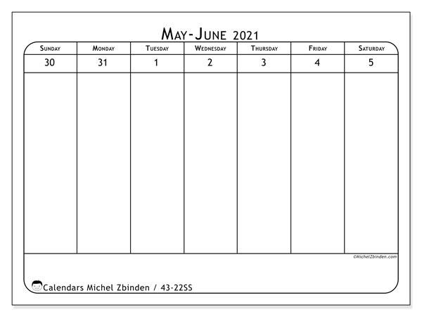 2021 Calendar, 43-22SS. Bullet journal to print free.