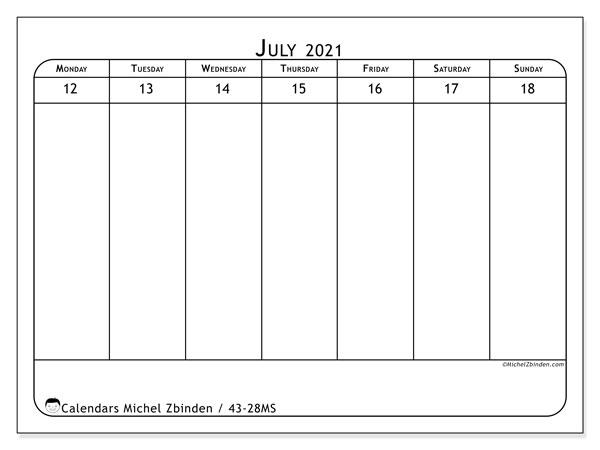 2021 Calendar, 43-28MS. Calendar for the week to print free.