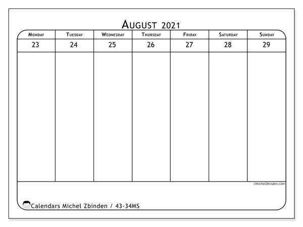 2021 Calendar, 43-34MS. Free printable calendar.