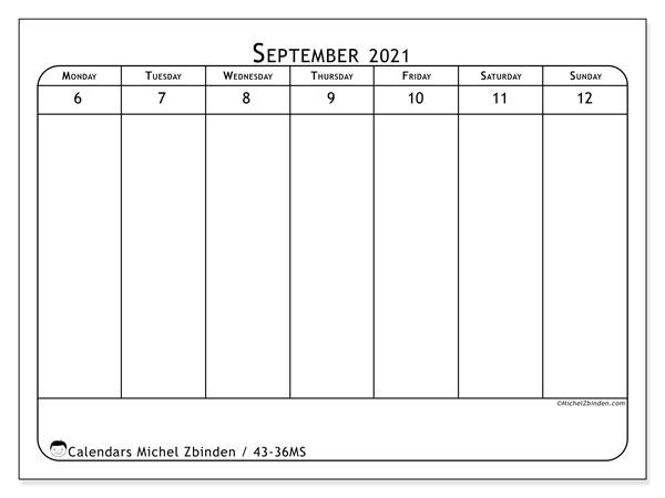 2021 Calendar, 43-36MS. Weekly calendar to print free.