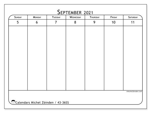 2021 Calendar, 43-36SS. Planner to print free.