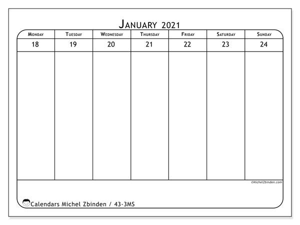 2021 Calendar, 43-3MS. Calendar for the week to print free.