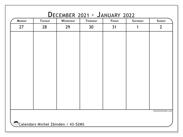 2021 Calendar, 43-52MS. Free printable planner.