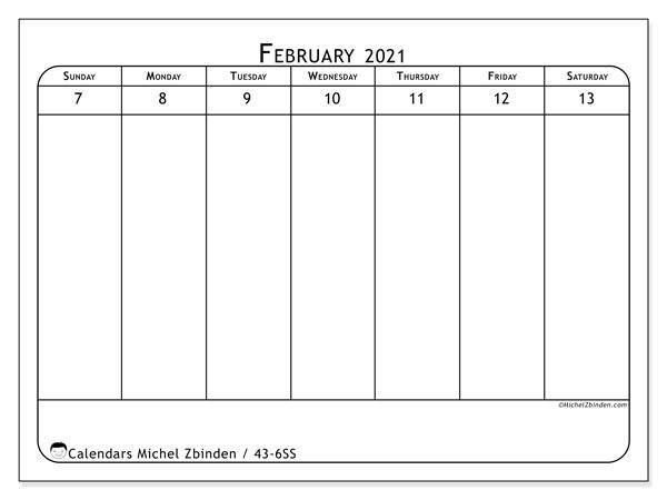 2021 Calendar, 43-6SS. Calendar to print free.