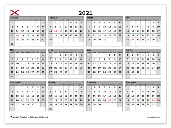 2021 Calendar, with the holidays of Alabama. Free printable calendar with public holidays.