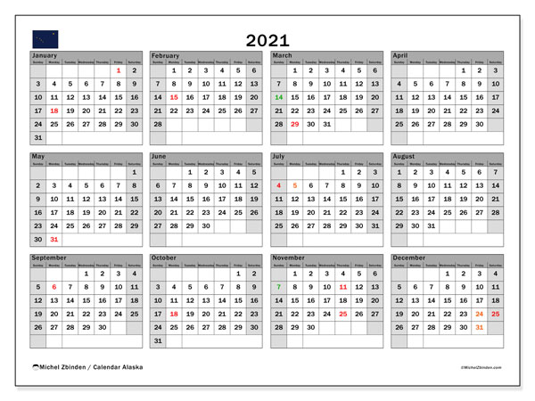 2021 Calendar, with the holidays of Alaska. Free printable calendar with public holidays.