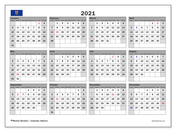 "Calendar ""Alberta"" with public holidays, 2021, ready to print."