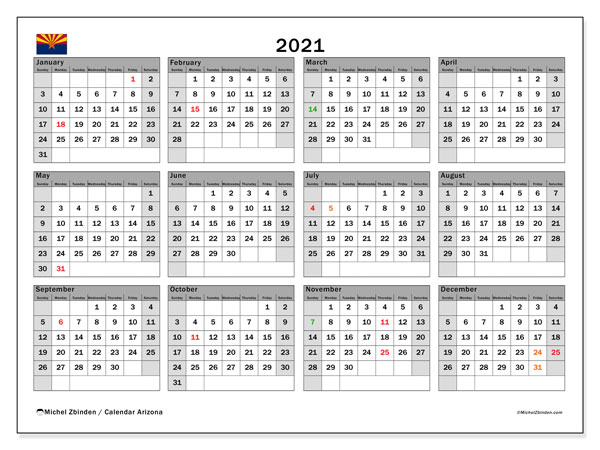 "Printable ""Arizona"" calendar with public holidays. Annual 2021 calendar and free printable timetable"