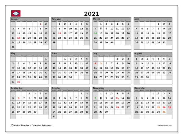 2021 Calendar, with the holidays of Arkansas. Free printable calendar with public holidays.