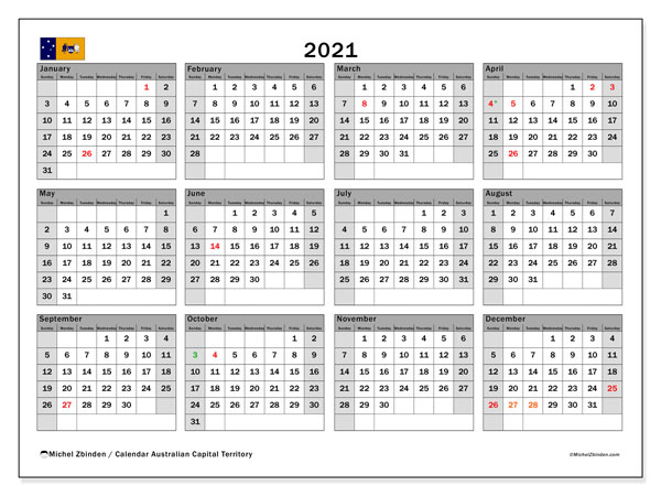 "Calendar ""Australian Capital Territory (SS)"" with public holidays, 2021, ready to print."