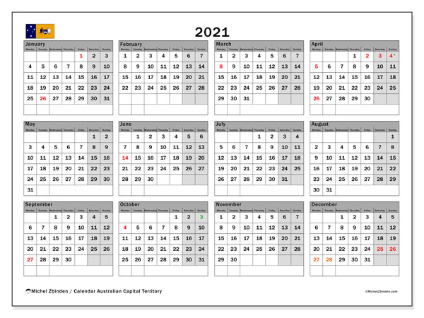"Printable ""Australian Capital Territory"" calendar with public holidays. Annual 2021 calendar and free printable timetable"