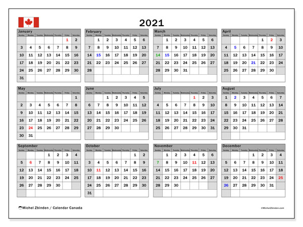 "Printable ""Canada"" calendar with public holidays. Annual 2021 calendar and planner to print free"