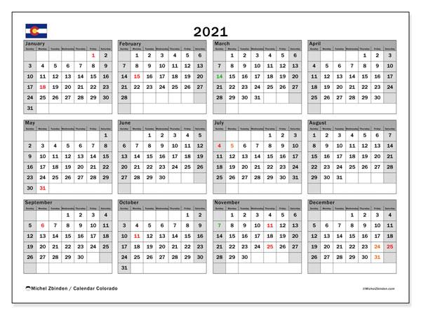 2021 Calendar, with the holidays of Colorado. Free printable calendar with public holidays.