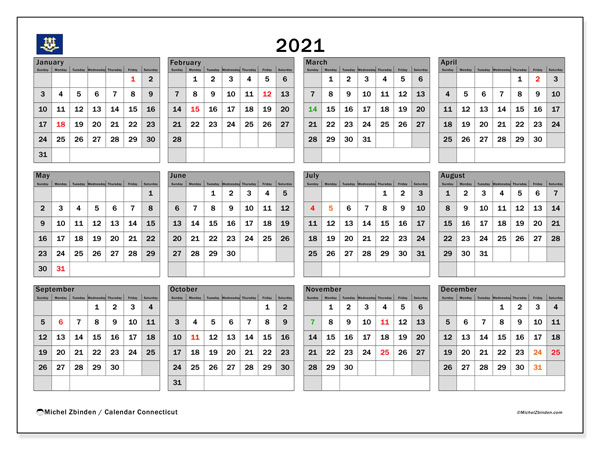 2021 Calendar, with the holidays of Connecticut. Holidays calendar to print free.