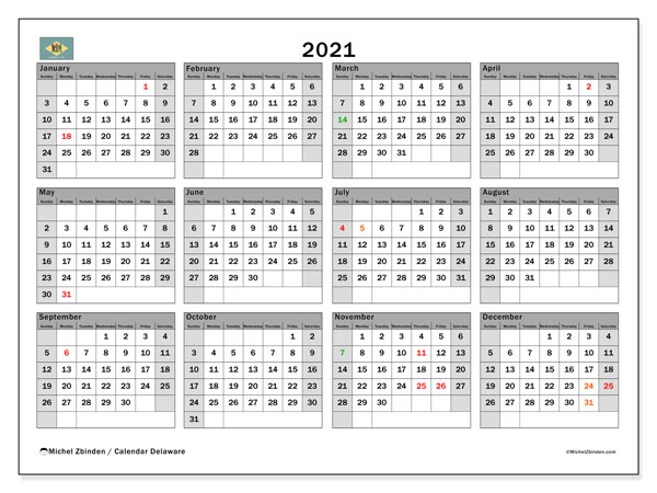 2021 Calendar, with the holidays of Delaware. Free printable calendar with public holidays.