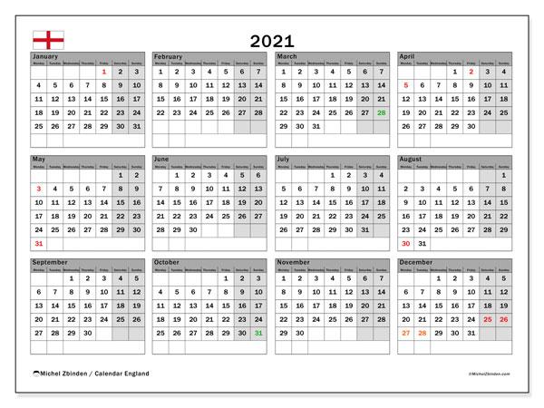 2021 Calendar, with the holidays of England. Holidays calendar to print free.
