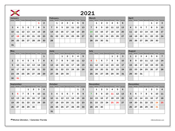 Annual Calendar 2021 - Florida. Public Holidays. Annual Calendar and free schedule to print.