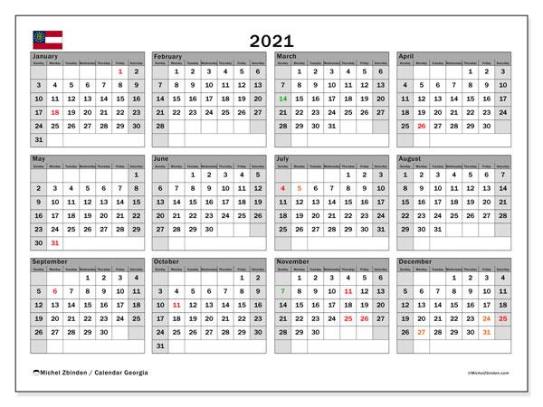 2021 Calendar, with the holidays of Georgia. Holidays calendar to print free.