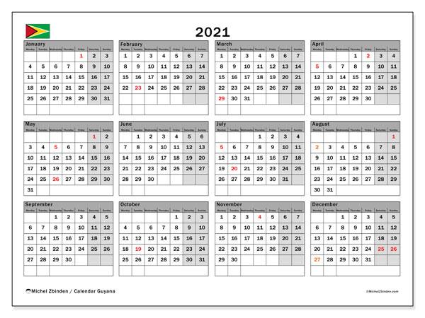 2021 Calendar, with the holidays of Guyana. Holidays calendar to print free.