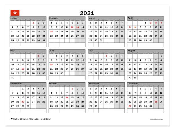 2021 Calendar, with the holidays of Hong Kong. Holidays calendar to print free.