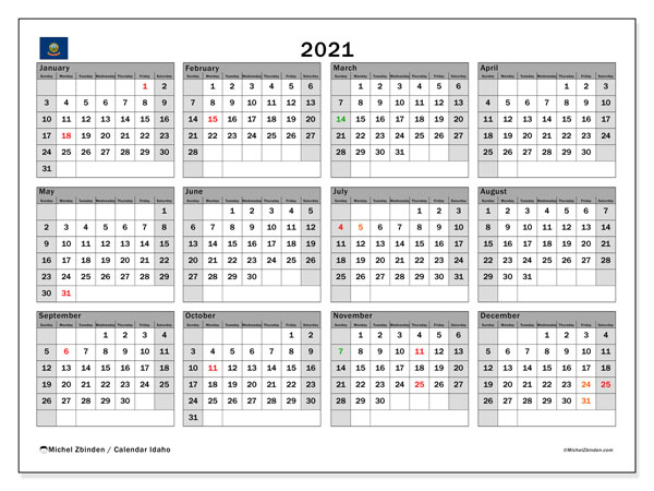 "Printable ""Idaho"" calendar with public holidays. Annual 2021 calendar and free agenda to print"