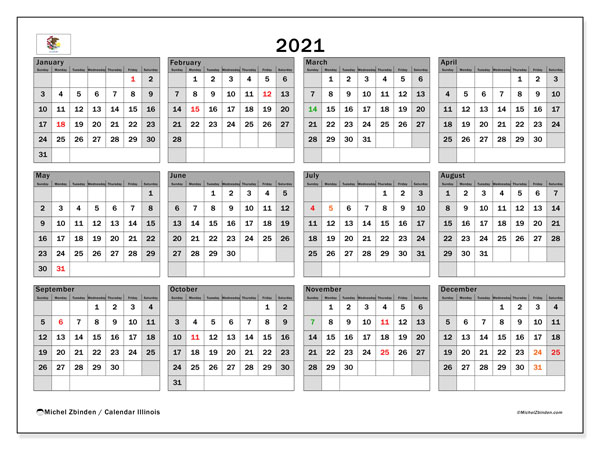 2021 Calendar, with the holidays of Illinois. Holidays calendar to print free.