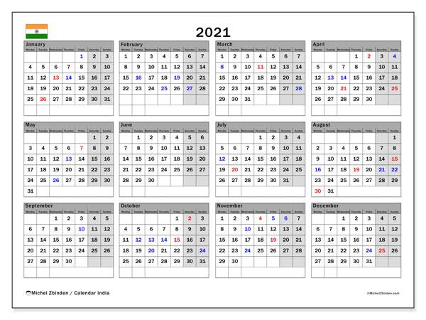 """Printable 2021 """"India"""" Calendar   Michel Zbinden EN"""