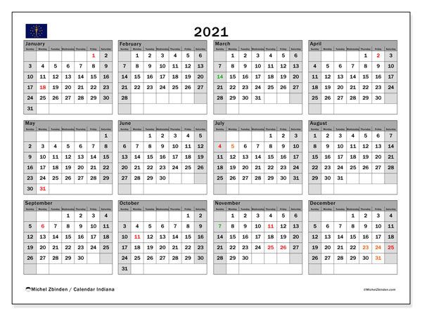 Annual Calendar 2021 - Indiana. Public Holidays. Annual Calendar and free printable schedule.