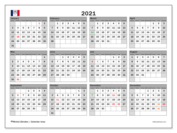 Annual Calendar 2021 - Iowa. Public Holidays. Annual Calendar and free bullet journal to print.
