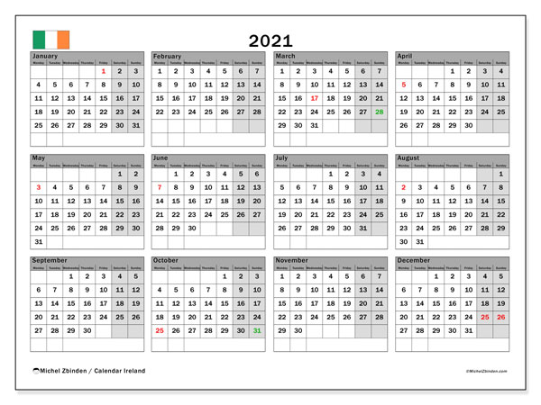Annual Calendar 2021 - Ireland. Public Holidays. Annual Calendar and agenda to print free.