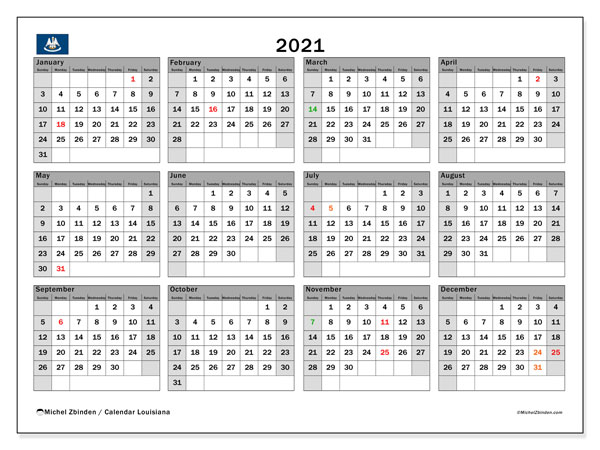 2021 Calendar, with the holidays of Louisiana. Free printable calendar with public holidays.