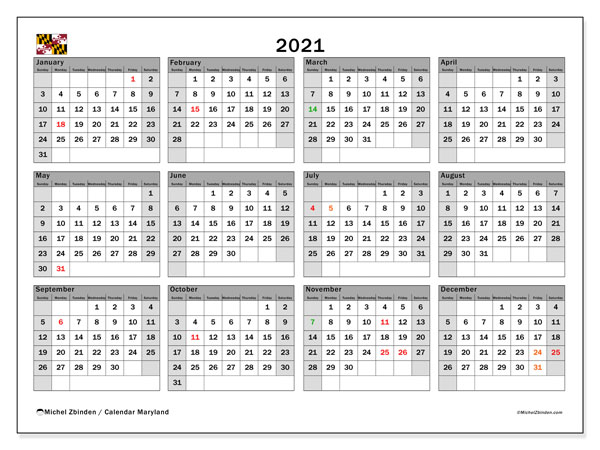 2021 Calendar, with the holidays of Maryland. Holidays calendar to print free.