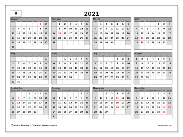 2021 Calendar, with the holidays of Massachusetts. Free printable calendar with public holidays.