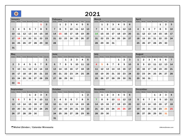 Annual Calendar 2021 - Minnesota. Public Holidays. Annual Calendar and planner to print free.